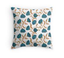 blue flower pattern Throw Pillow