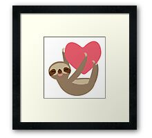 Lying sloth with a big red heart Framed Print