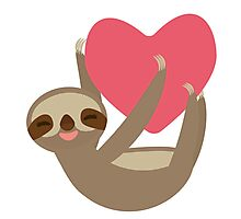 Lying sloth with a big red heart Photographic Print