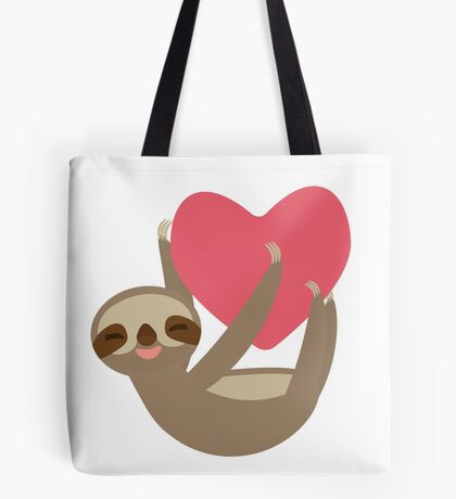 Lying sloth with a big red heart Tote Bag