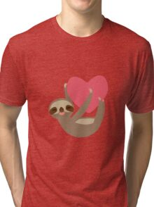Lying sloth with a big red heart Tri-blend T-Shirt