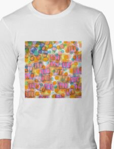 Happy Pattern with Pink Blocks Long Sleeve T-Shirt