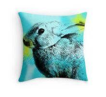 SPRING; Blue Hare Throw Pillow