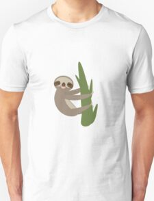 Sloth on a bench in yellow Unisex T-Shirt