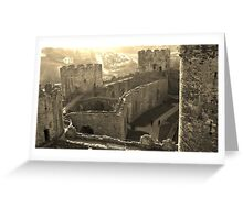 CONWY CASTLE FORTRESS NORTH WALES IN SEPIA Greeting Card