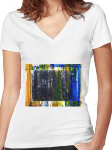 Colored Forest - Original Wall Modern Abstract Art Painting Women's Fitted V-Neck T-Shirt