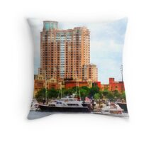 Boats at Inner Harbor Baltimore MD Throw Pillow