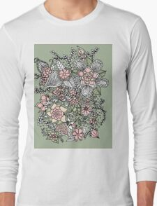 Modern floral pattern pink green hand drawn Long Sleeve T-Shirt