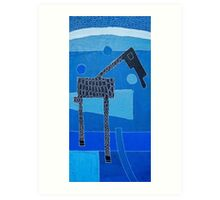 Aqua-Blue Savannah Giraffe Art Print