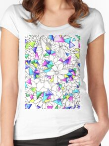 Modern watercolor geometric triangles floral  Women's Fitted Scoop T-Shirt