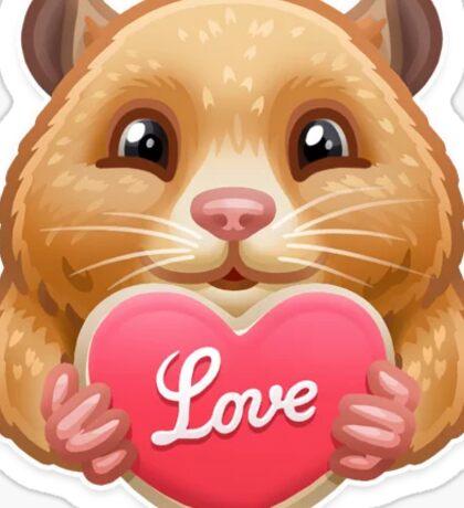 Hamster holding love heart emoji Sticker