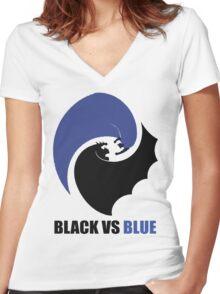 Black vs Blue 2 Women's Fitted V-Neck T-Shirt