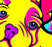 Colourful French Bull Dog Yellow  Sticker