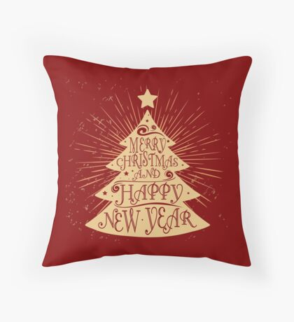 Merry christmas and a happy new year christmas tree Throw Pillow