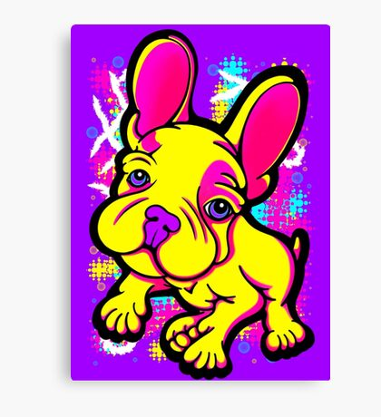 Colourful French Bull Dog Yellow  Canvas Print