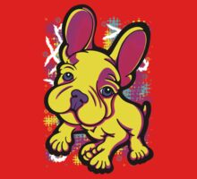 Colourful French Bull Dog Yellow  Kids Tee