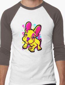 Colourful French Bull Dog Yellow  Men's Baseball ¾ T-Shirt