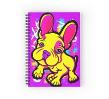 Colourful French Bull Dog Yellow  Spiral Notebook