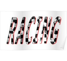 Racing Word Chequered Flag Poster