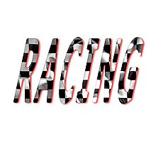 Racing Word Chequered Flag Photographic Print