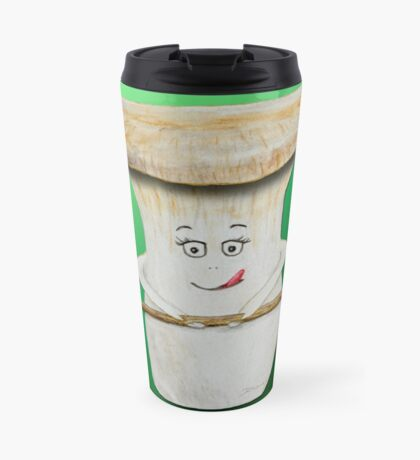 Funny mushroom with wooden spoon Travel Mug