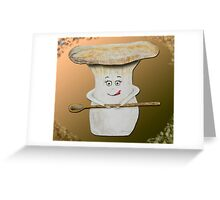 Funny mushroom with wooden spoon Greeting Card