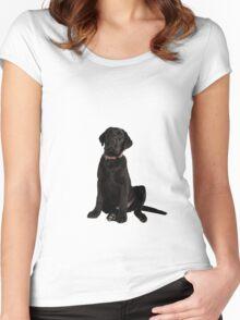 black labrador retriever puppy Women's Fitted Scoop T-Shirt
