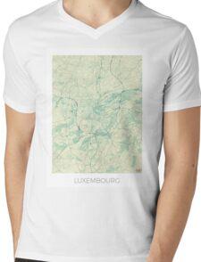 Luxembourg Map Blue Vintage Mens V-Neck T-Shirt