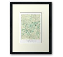 Luxembourg Map Blue Vintage Framed Print