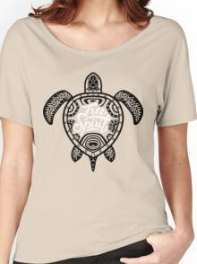Free Spirit - Green Turtle Illustrative Surfer Style Design Women's Relaxed Fit T-Shirt