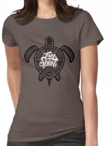 Free Spirit - Green Turtle Illustrative Surfer Style Design Womens Fitted T-Shirt