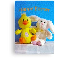 Happy Easter Chick & Bunny Canvas Print