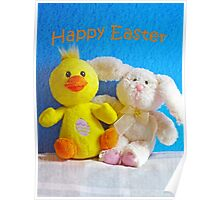 Happy Easter Chick & Bunny Poster