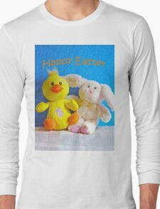 Happy Easter Chick & Bunny Long Sleeve T-Shirt