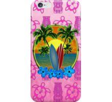 Pink Surfing Sunset Tiki iPhone Case/Skin