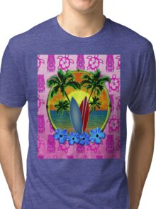 Pink Surfing Sunset Tiki Tri-blend T-Shirt