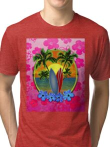 Pink Surfing Sunset Honu Tri-blend T-Shirt