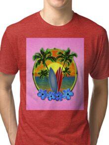 Pink Surfing Sunset Tri-blend T-Shirt