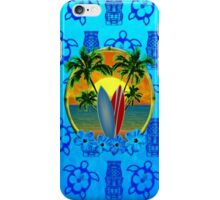 Blue Surfing Sunset Tiki iPhone Case/Skin
