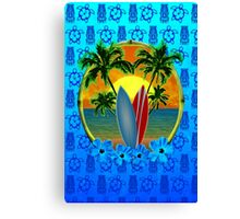 Blue Surfing Sunset Tiki Canvas Print