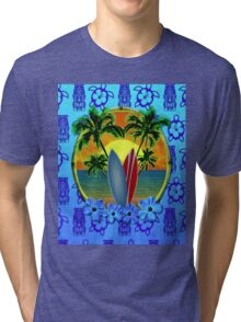 Blue Surfing Sunset Tiki Tri-blend T-Shirt
