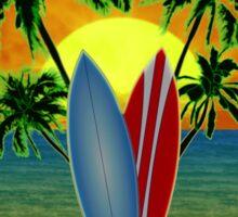 Blue Surfing Sunset Tiki Sticker