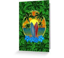 Surfboard Sunset  Greeting Card