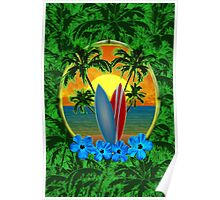 Surfboard Sunset  Poster