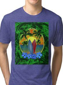 Surfboard Sunset  Tri-blend T-Shirt