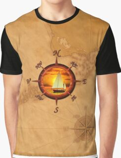 Compass Rose And Sunset Graphic T-Shirt