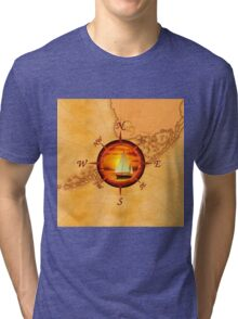 Compass Rose And Sunset Tri-blend T-Shirt