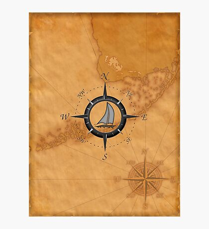 Florida Keys Map Compass Photographic Print