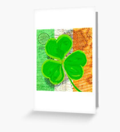 Vintage Irish Shamrock Collage Greeting Card