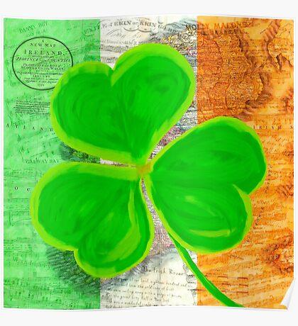 Vintage Irish Shamrock Collage Poster